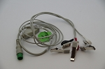 4 Pin 1 PIECE ECG Cable - 3 Lead SNAP HEAD and 3 clips FOR Biolight M800vet handheld monitor