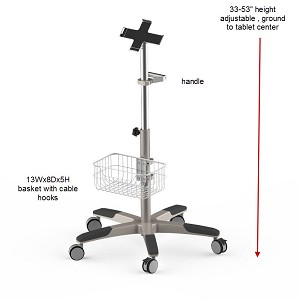 Medical Grade Tablet Ipad Holder Rolling Roll Stand Small