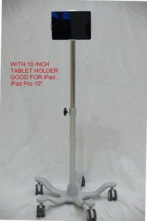 Deluxe Medical Grade Tablet iPad holder rolling roll stand Sunken base